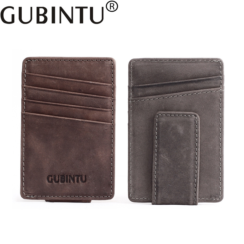 GUBINTU Leather Men Money Clip Magnet Rfid Wallet for Men Credit Card Wallet Slim Minimalist Clamps --BID067 PM49 maibomengnuo authentic crocodile skin wallet belly belly fashionable contracted men thin money clip upright money