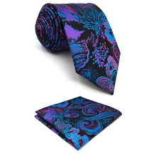D13 Multicolor Geometric Men Neck Ties Silk Wedding Extra Long 63 Classic for