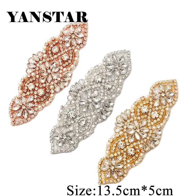 YANSTAR 1 PCS Rhinestone Appliques For Wedding Belt Rose Gold Crystal - Өнер, қолөнер және тігін - фото 5