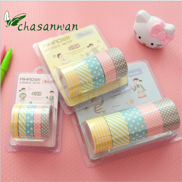 5 Rollbox Diy Stickers Colorful Scrapbooking Paper Tape Cartoon