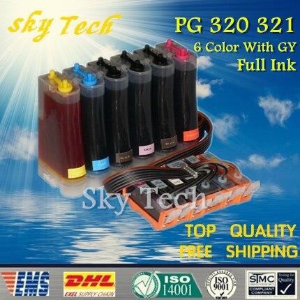 CISS d'encre 6 couleurs pour PGI320 CLI321, BCI320 BCI321 CISS pour Canon PIXUS MP980 MP990 etc, avec puce ARC