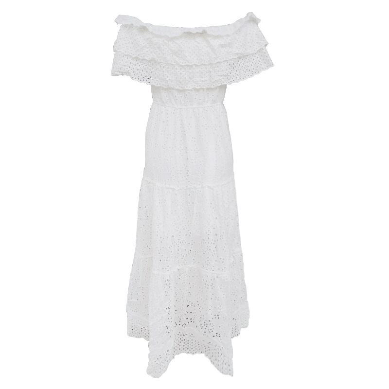 CHICEVER Summer Elegant White Dress For Women Slash Neck Patchwork Ruffles Short Sleeve High Waist Hollow Out Floor Dresses 2020 2