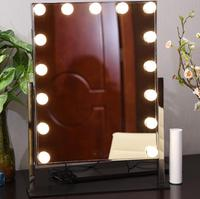 46x60cmHollywood Makeup Vanity Mirror with Light Tabletops Lighted Mirror with Dimmer Stage Beauty Mirror Valentine's Day Gift