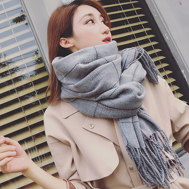 Fall/winter 2018 New Plaid Scarf Thickened Warm Cashmere Scarves Shawls and Scarves Winter Women Scarf 185*70cm Echarpe Foulard