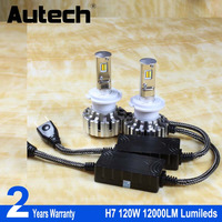 Autech 1 Pair 120W H7 CSP Chips Led Headlight Car Auto All In One LED Headlight