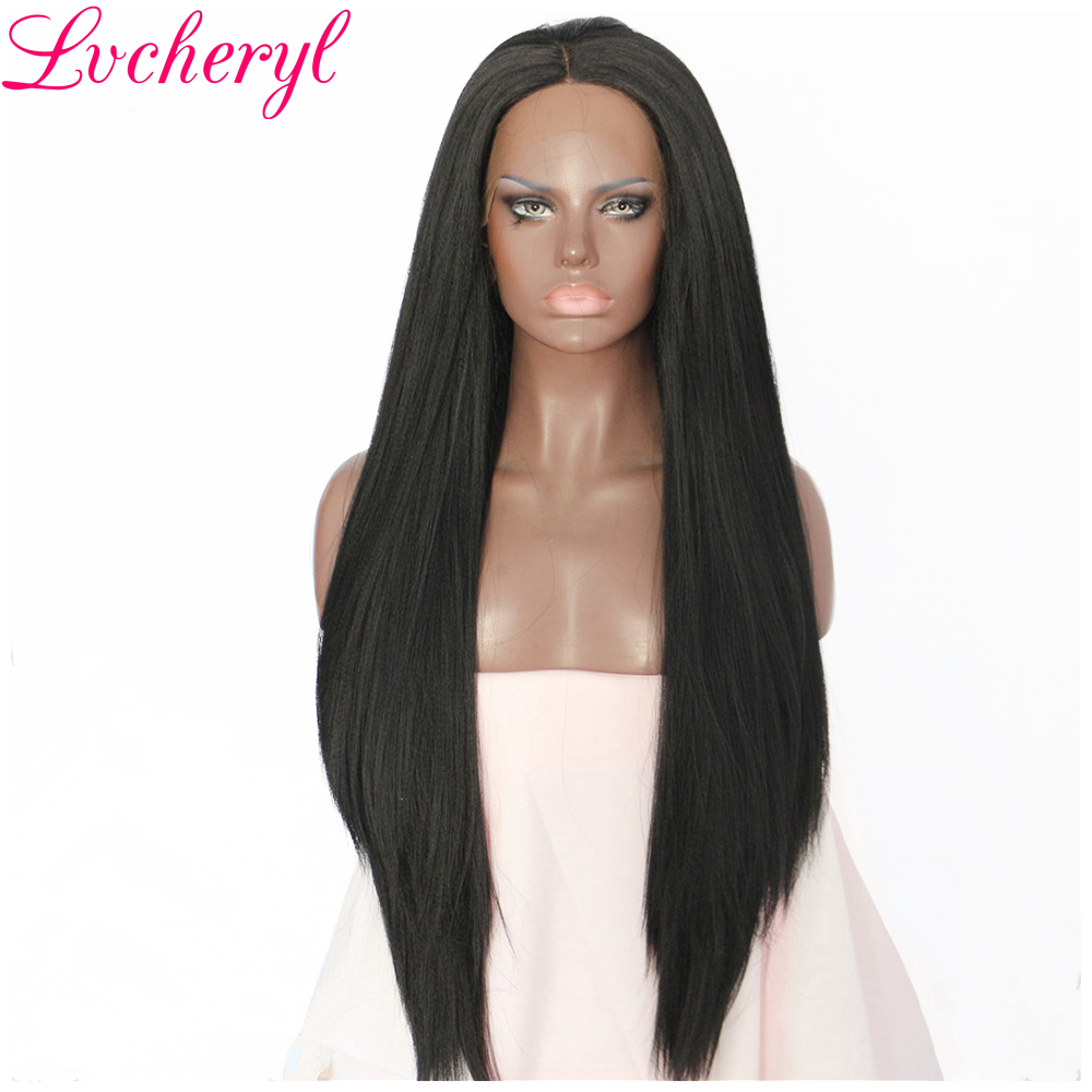 Lvcheryl Black Color Yaki Straight Natural long Heat Resistant Fiber Hair Wigs Synthetic Lace Front Wig
