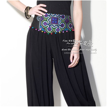 free shipping spring and summer autumn national embroidery trend women's pants capris bloomers balck casual female trousers