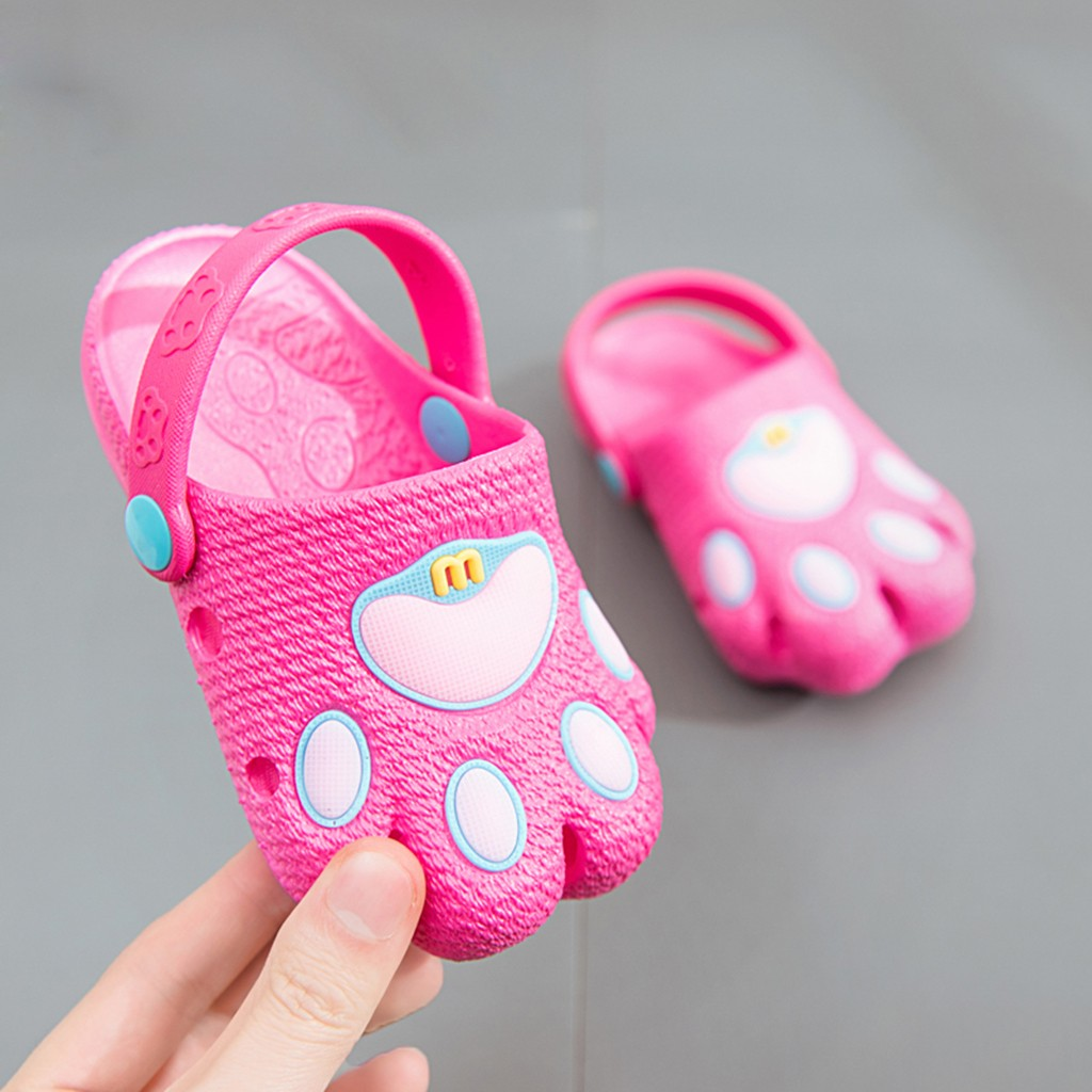 Kids Girls Cute Baby Boys Girls Cartoon Paw Cute Slippers Hollow Beach Sandals Casual Flat Shoes