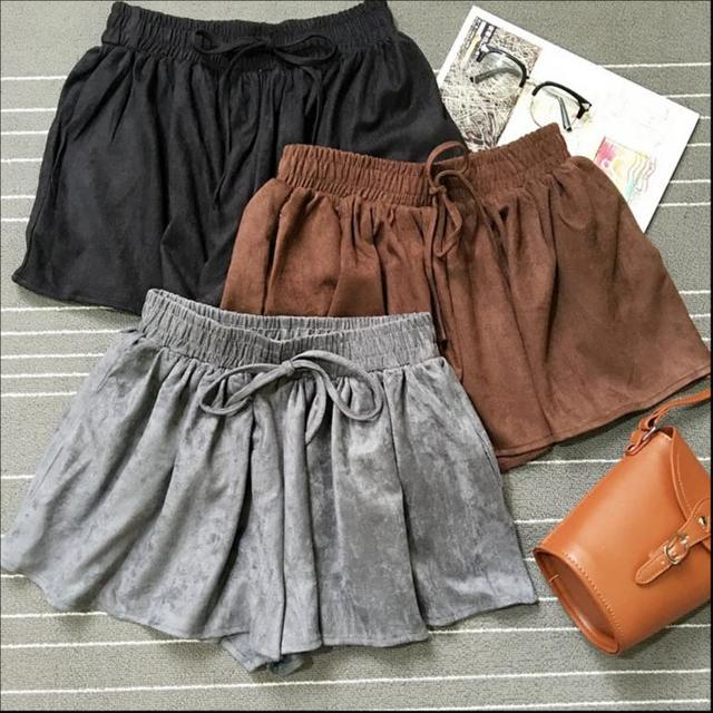 Wholesale Suede Shorts 2016 New arrivalwomen casual Drawstring Elastic Waist Pockets Summer Shorts Loose pleated Shorts W428
