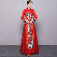 Red Bride Marry Dress Traditional Chinese Women Ancient Modern Wedding Cheongsam Oriental Style Dresses Robe Chinoise