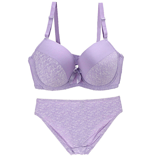 New Big Size Lingerie Women Push Up Bra And Panty Set Sexy Print Bow Decoration Underwear Seamless Adjusted Plus Size Intimates Bra & Brief Sets