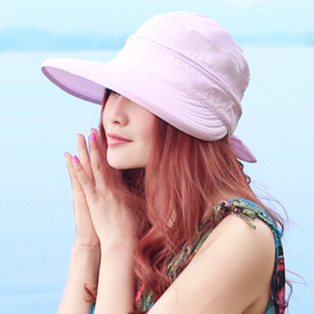 Fashion Travel Solid Foldable Cap Visors Sun Hat Bowknot Hiking Practical Ladies Summer Beach Korean Style Outdoor