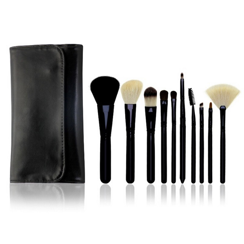 Natural 10pc  Foundation Shadows Eyeliner Lip Make Up Tool Pouch Bags Makeup Brushes Set Pro Cosmetic Brush Eyebrow New  цена и фото