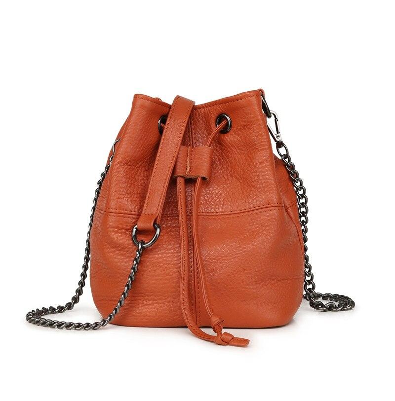 MJ Genuine Leather Women Bag Chain Crossbody Handbag Female Real Cow Leather Bucket Shoulder Bags Small Messenger Bag for Girls (4)