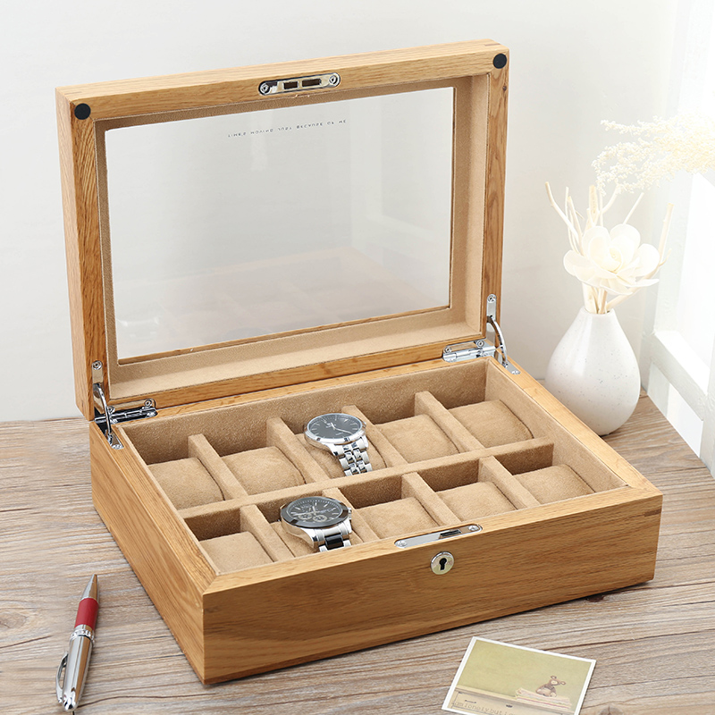 Pure Real Wood Exports American Oak Skylight Watch Box Ten Mechanical Watch Show Collect Receive A Cassette of The Lock russia s old elm purple yu pure real wood double box box jade jewelry bracelet receive a cassette of the lock