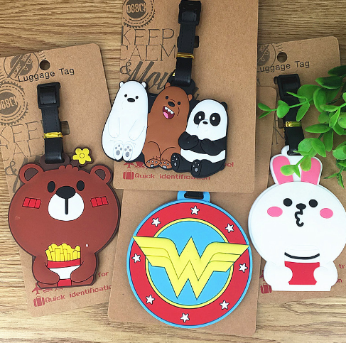 Plastic toys Luggage Bear Rabbit Tag Travel Luggage Suitcase Baggage Travel bag Boarding tag Lovely Label Name ID Action Toy 130