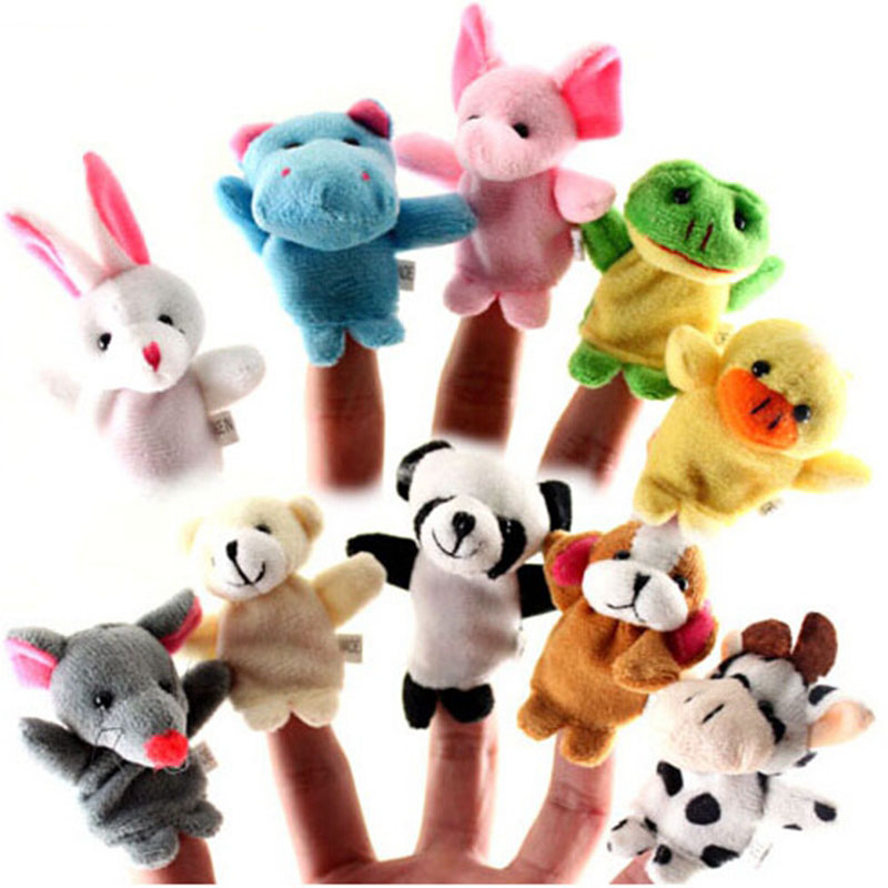 10pcs/lot Animal Cartoon Biological Finger Puppet Plush Toys Baby Cloth Educational Hand Toy Story Finger Dolls Free Shipping