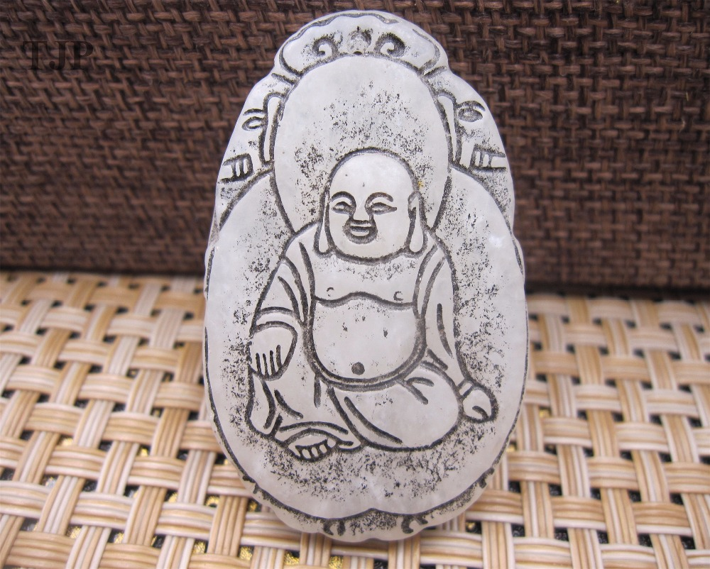 Natural carved wealth old Laughing Buddha necklace pendant amulet luck white jade Buddha pendant certificate together