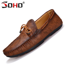 Fashion Noble Leather Men Loafers Driving Shoes Moccasins Men's Flats Shoes Mens Slip On Soft Loafers Comfortable Boat Flats