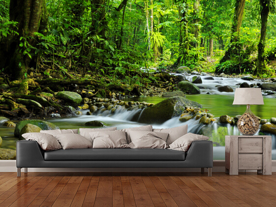Custom landscape wallpaper mountain stream 3d natural for for Nature wallpaper for bedroom