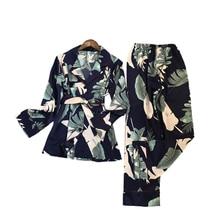 Freshing Zomer Afdrukken Mode Vrouwen Pyjama Rayon Sexy Pijama Lange Mouw Broek Twee Papier Pak