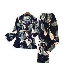 Świeży letni nadruk moda damska piżama Rayon Sexy Pijama spodnie z długim rękawem dwa papierowe garnitury