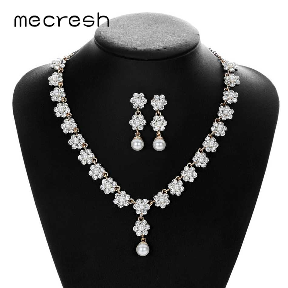 Mecresh Cute Crystal Flower Bridal Wedding Jewelry Set for Women Simulated Pearl Earrings Necklace Set Engagement Jewelry MTL582