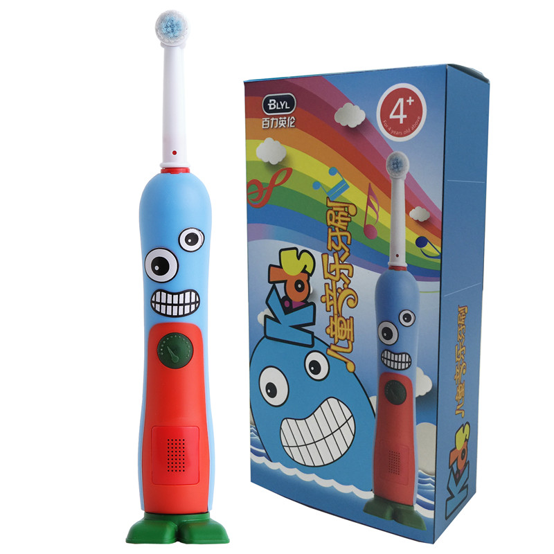 Music Timer Recharging Cartoon Childresn's Kids Baby Safety Waterproof Electric Toothbrush Teether Training Soft Dental Cleanser ultra soft children kids cartoon toothbrush dental health massage 1 replaceable head outdoor travel silicone retractable folding