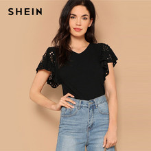 SHEIN Lady Summer Elegant Black Laser Cut Flutter Sleeve V Neck Tee 2019 Casual Solid Butterfly Sleeve Women Tshirt Tops