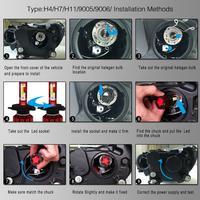 2pcs Q6 LED Headlight H4 9003 HB2 Q6 12000LM 6000K 120W DOB LED Car Headlight Kit Hi Lo Light Bulb for Vehicles Cars