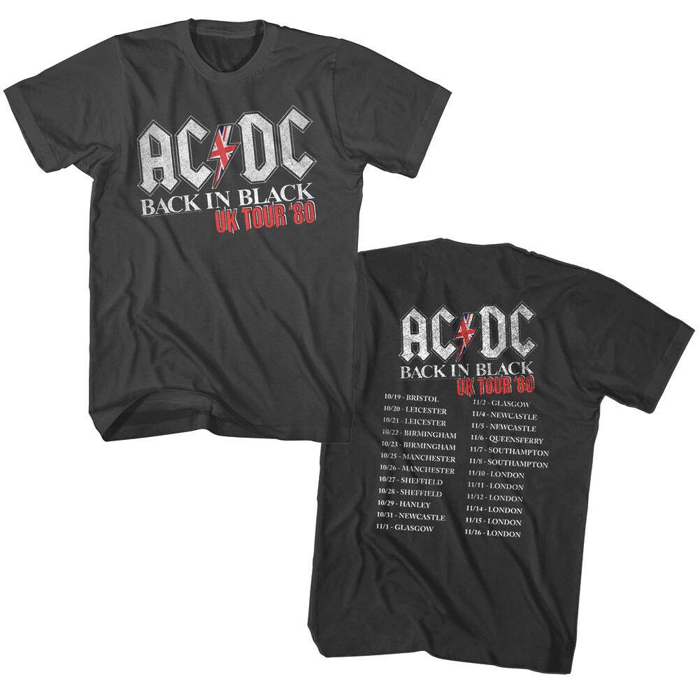 ACDC Back In Black UK Tour 1980 Mens T Shirt Vintage Rock Band Album Music Merch