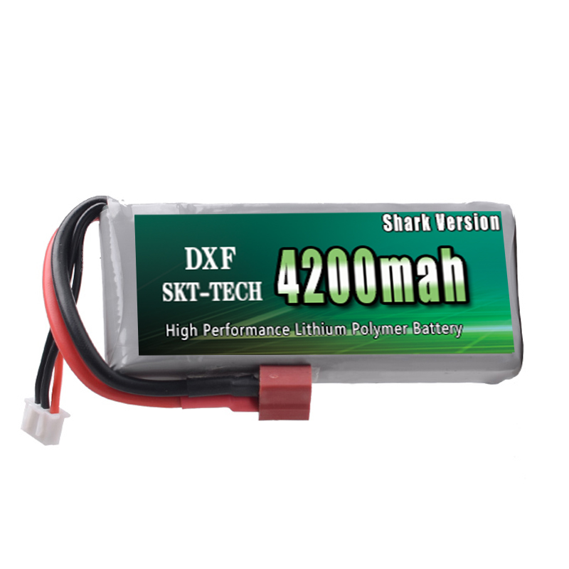 DXF Shark Version Good Quality Rc Lipo Battery 7.4V 4200mah 2S 25C Max50C for Wltoys 12428 12423 1:12 RC Car Spare parts 4pcs wltoys f949 battery xk k124 battery 3 7v 720mah lipo battery spare parts spare parts