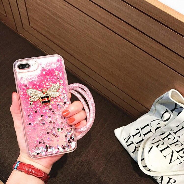 Для iPhone 6 6 S 4.7 дюймов Роскошные 3D Металл пчела Телефонные чехлы Модные Fundas Жидкий блеск песок ТПУ чехол задняя крышка Coque