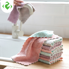 GUANYAO Microfiber Cleaning Cloth Kitchen Scouring pad Double layer Thick rag Soft Good water absorption Hand towel