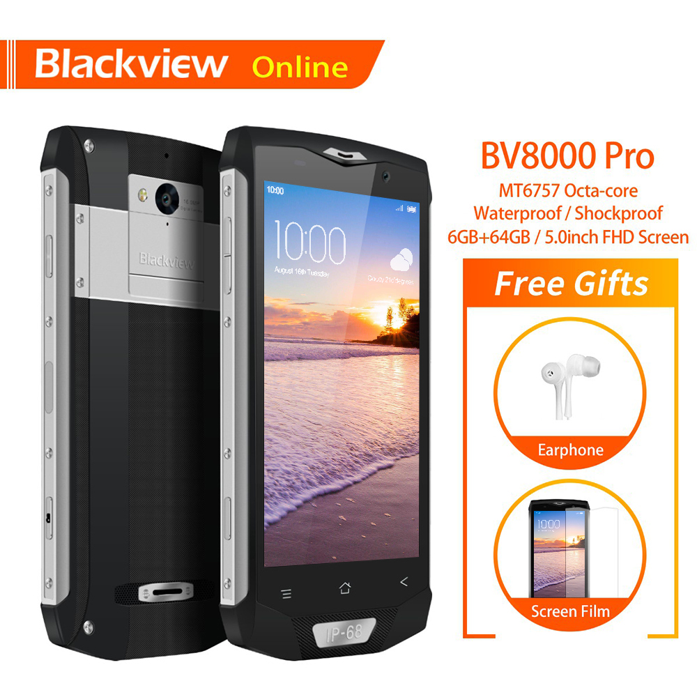 Blackview BV8000 Pro D'origine 5 IP68 Étanche smartphone robuste 6 GB + 64 GB Octa-Core D'empreintes Digitales 4G plein Air difficile téléphone portable