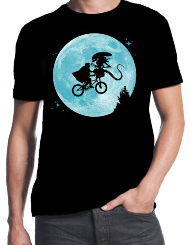 ET Alien Flying BMX Moon Logo Funny Sci Fi Movie 80 39 s Party Costume BLK T ShirtFunny Crew Neck Short Sleeve T Shirt in T Shirts from Men 39 s Clothing