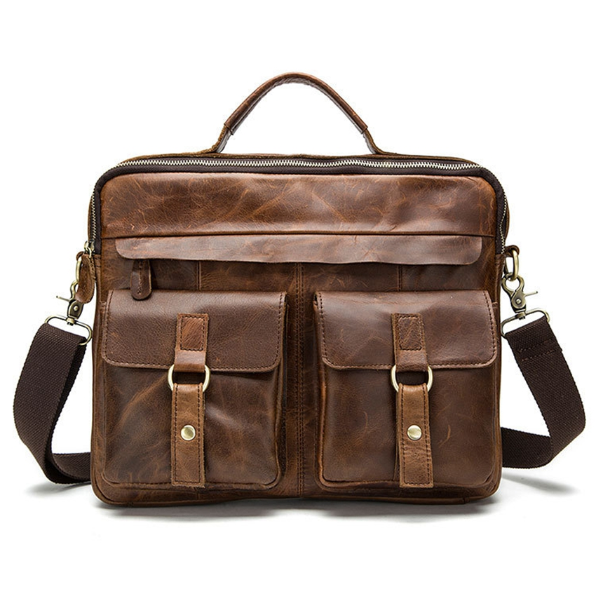 New Genuine Leather mens bags Crossbody Bags Casual Totes Men Briefcases Laptop messenger bag men's shoulder bag handbags