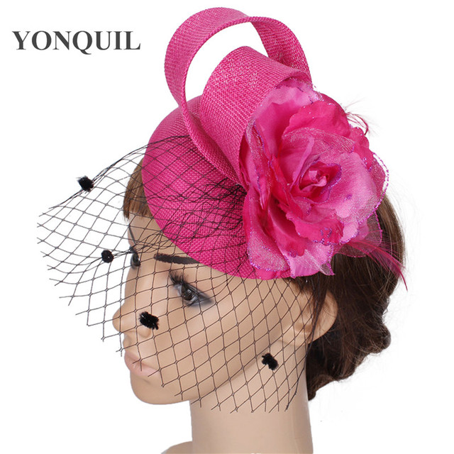 High quality 15colors hot pink fascinator with black birdcage veil  imitation sinamay fascinators hats bridal hair accessories e2b4294f6c4