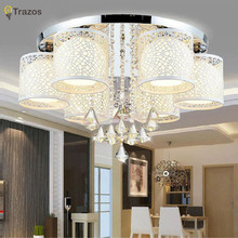2017 New Round Crystal Ceiling Light For Living Room Indoor Lamp with Remote Controlled luminaria home decoration Free Shipping