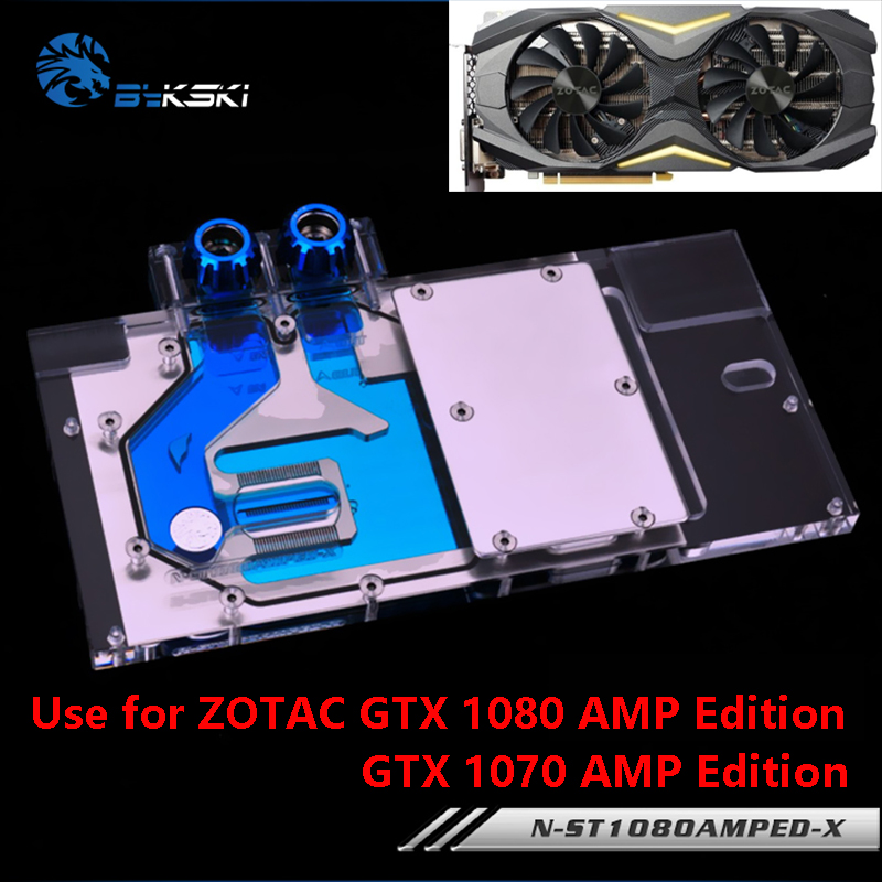 Bykski Full Cover Graphics Card Water Cooling Block use for ZOTAC GTX1080/1070 AMP Edition RGB Light Radiator Block ST1080AMPED bykski multicol water cooling block cpu radiator use for amd ryzen am3 am4 acrylic cooler block 0 5mm waterway matel bracket