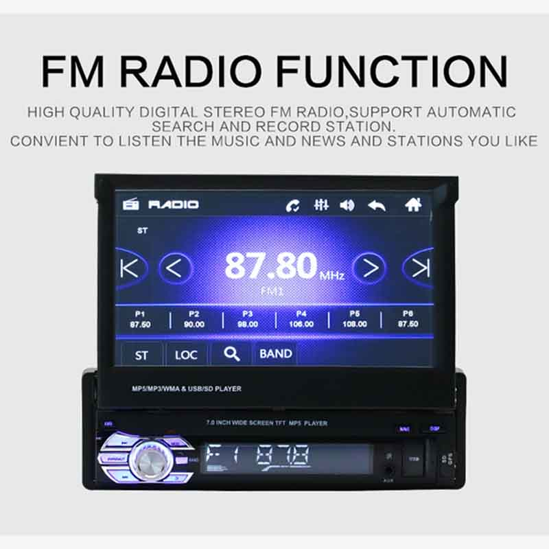 7 Touch LCD Screen 60W*4 Bluetooth Car Player Stereo Audio MP3 Radio Player with AUX IN GPS MP3 MP5 Car Multimedia Player