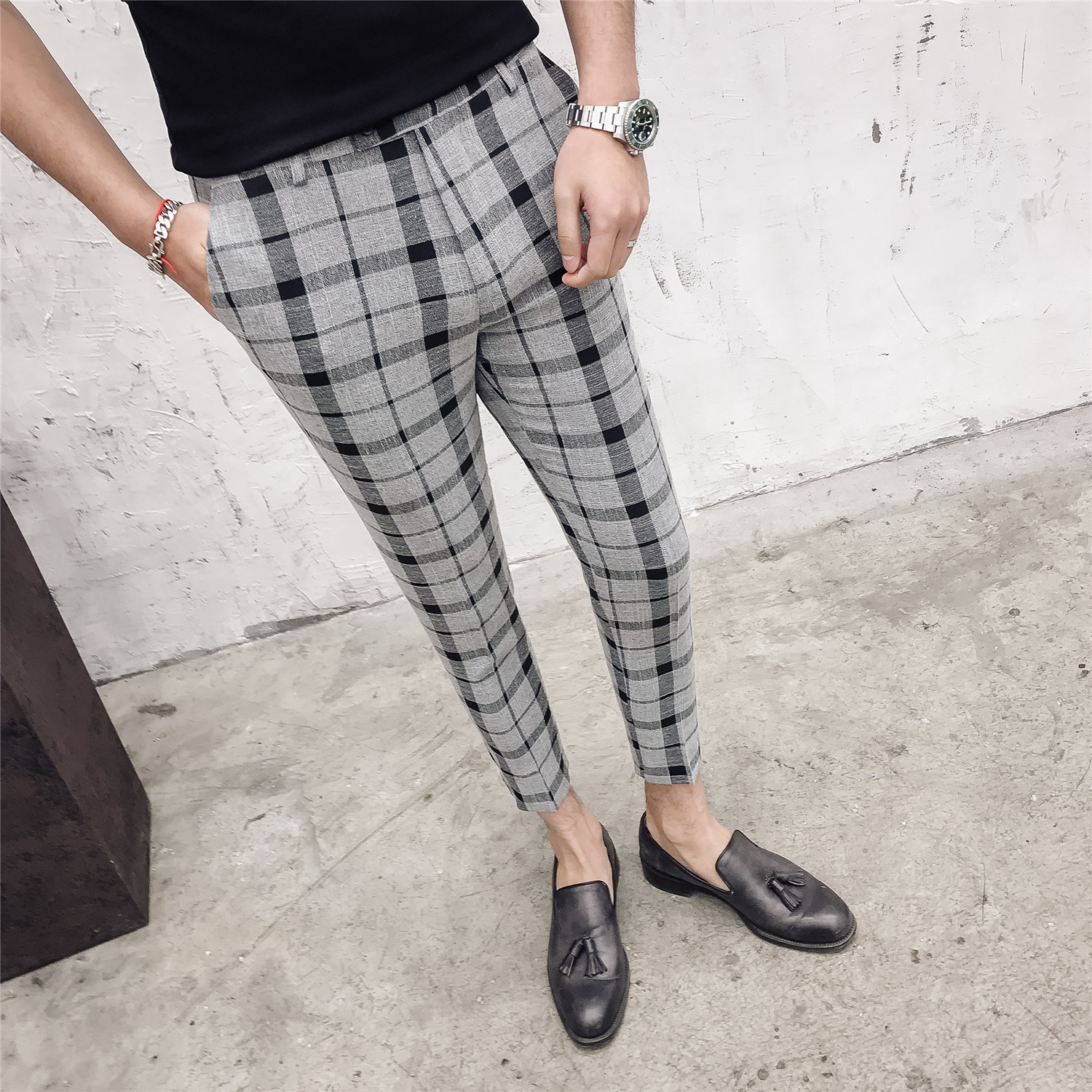 Suit Pants Trousers Formal-Wear Slim-Fit Business Plaid Casual Male Spring Men Brand-New