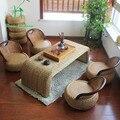 Simples e moderno e cadeiras de madeira combinado criativas pequenos móveis rattan mesa de chá Kung Fu Jogo de chá