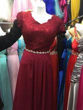 2017 autumn O Neck short sleeve long Lace Wine Evening dresses pluse size prom Dress Diamond Belt Custom size Dark red om dress