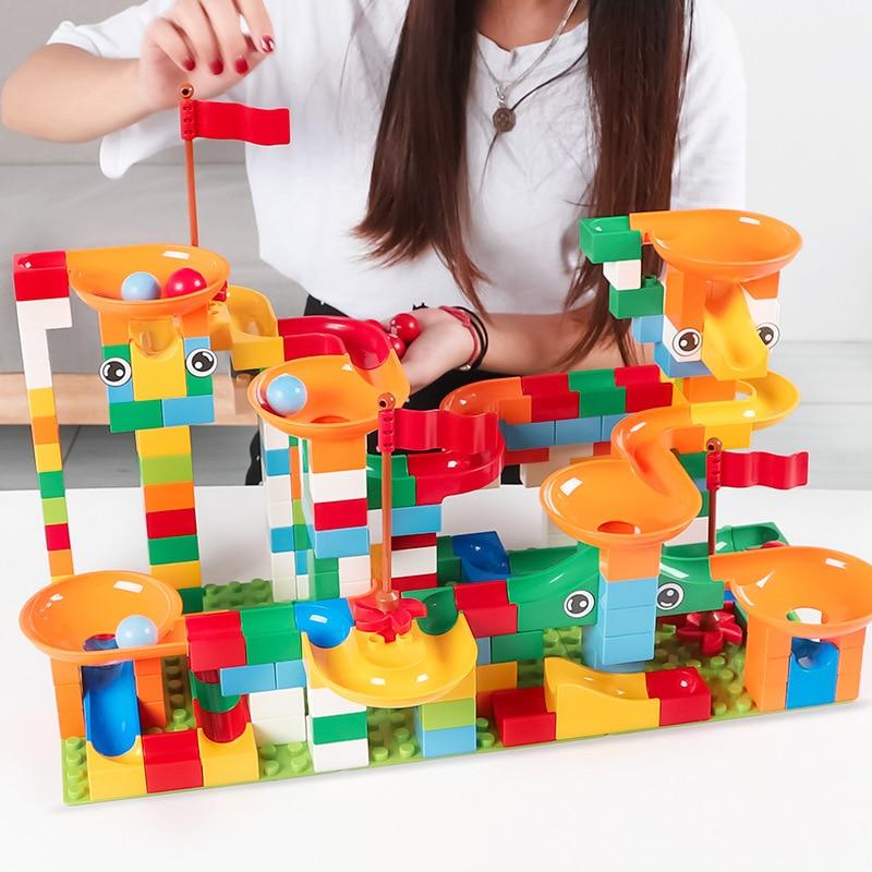 Marble Race Run Maze Ball Piste Track LegoING Duplo Big Size Building 74-296 PCS