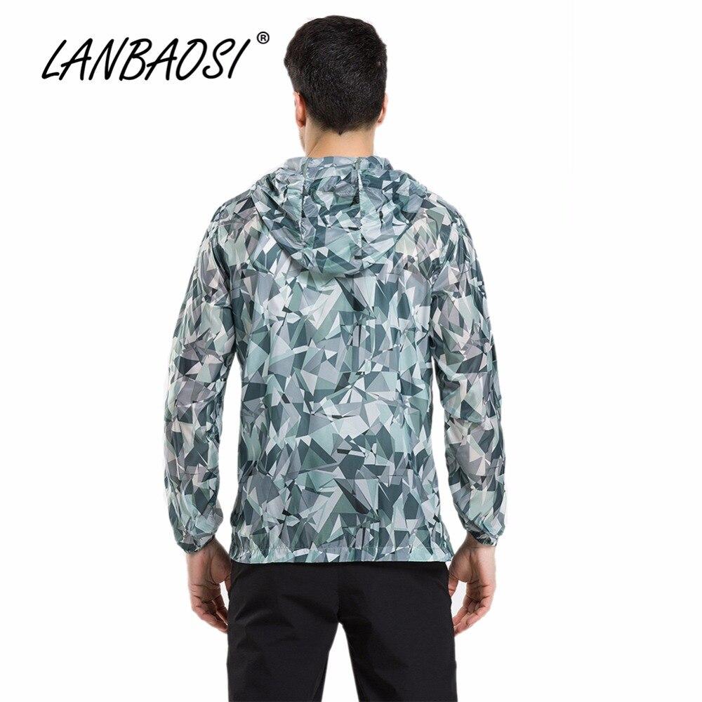 Lanbaosi Outdoor Sports Summer Mens Hiking Jackets Camo Hoodies Sunscreen Anti-uv Quick Dry Waterproof Travel Trekking Clothes Hiking Clothings Hiking Jackets
