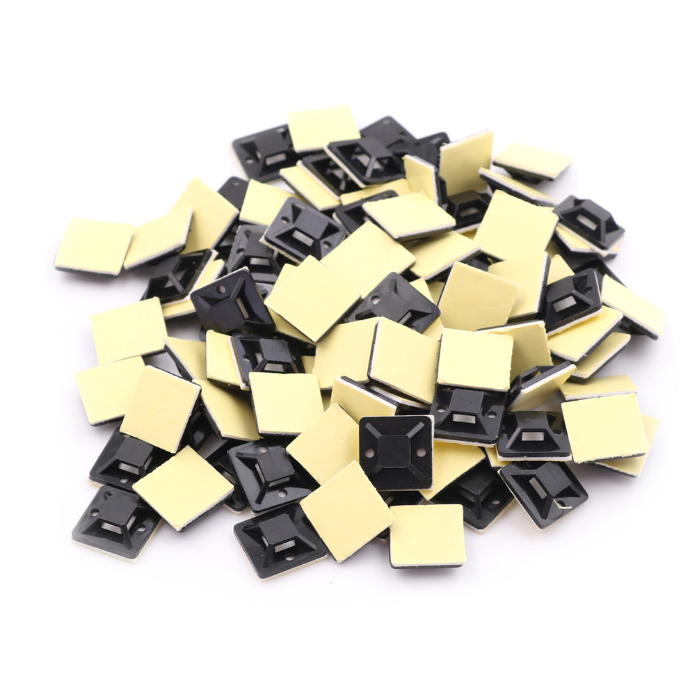 100X Car Clips Self-adhesive Tie Cable Wire Holder Rectangle Plastic Mount Clamp