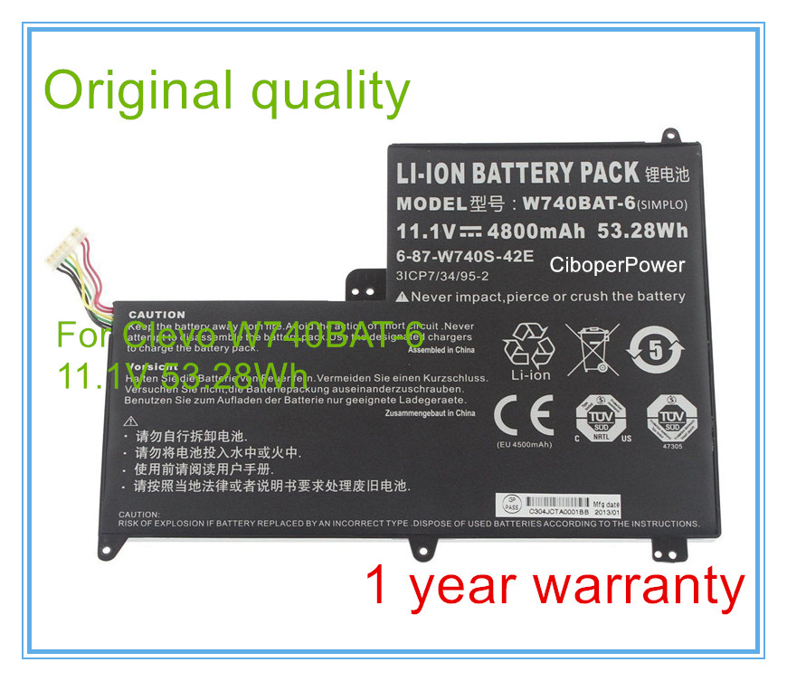 11.1V 4800mAh 53.28Wh Original Battery for W740BAT-6 6-87-W740S-42E 3ICP7/34/95-2 S413 W740SU X411 origianl clevo 6 87 n350s 4d7 6 87 n350s 4d8 n350bat 6 n350bat 9 laptop battery