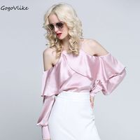 Sexy Pink Slash Neck Open Shoulder Tops Hollow Out 2017 Women Ruffles OL Blouse Shirt Camisa