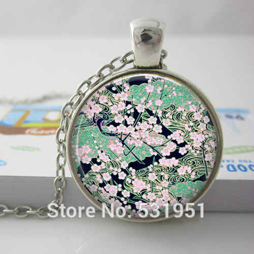 Wholesale Asian Floral Necklace, Green Black, Glass Art Picture Pendant Photo Pendant Handcrafted Jewelry